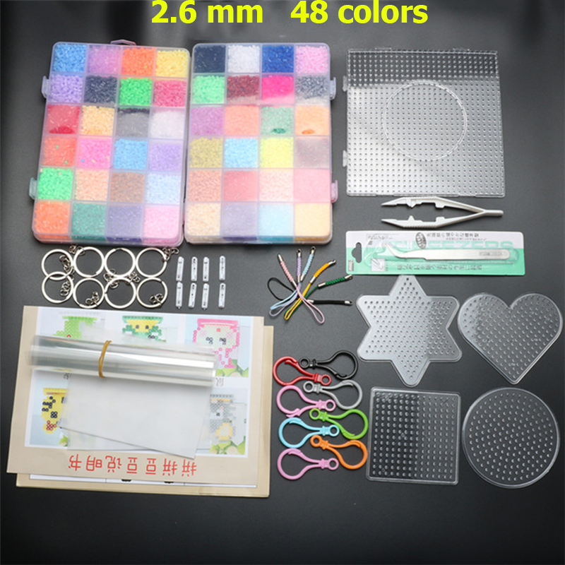 48 Colors 26000pcs  2.6mm Hama Beads Pegboard Set Toy Perler Beads Template Set Building Kit Educational Kids Toys