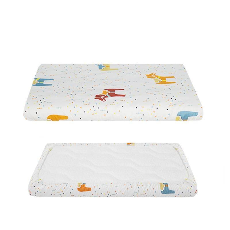 Combed Cotton Crib Fitted Sheet Cartoon Bedding Protector For Boys Girls Baby Bed Mattress Cover Anti-dirty Baby Sheets