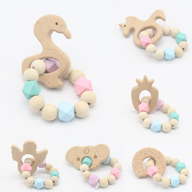 Baby Nursing Bracelets Wooden Teether Crochet Chew Beads Teething Wood Rattles Toys Teether Montessori Bracelets