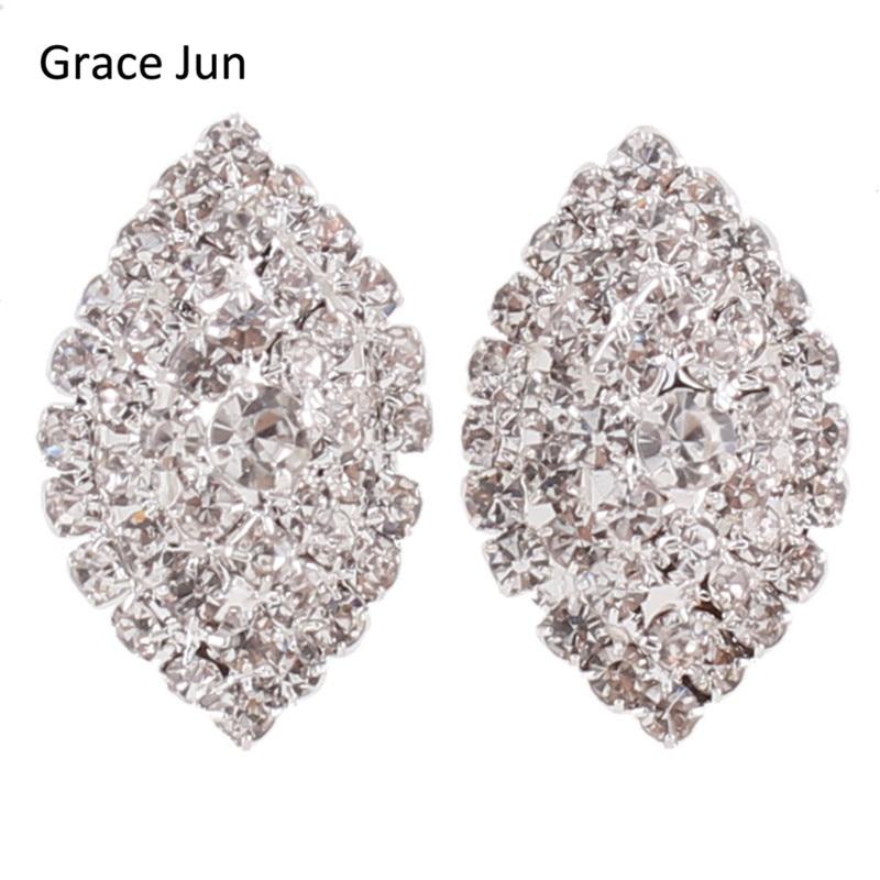 Grace Jun Bridal Rhinestone Crystal Big 3 lager Geometrisk stil Clip Örhängen Icke Piercing för kvinnor Inget hålörklipp Hot Sale