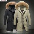 2016 de Invierno Nuevos hombres de la Moda Acolchada Larga Sólido Abrigo Informal invierno Abajo chaqueta de cuello de Pelo sombrero Chaqueta de Traje de Los Hombres de Tamaño M-XXXL