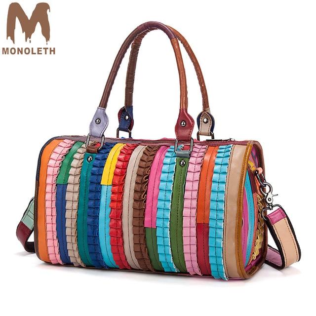 ff331549c2 MONOLETH brand luxury handbags women bags designer stripe patchwork genuine  Leather shoulder crossbody bag Fashion ladies bags