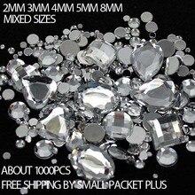 Mixed Sizes 1000pcs Many Colors Round Acrylic Loose Flatback Rhinestone  Nail Art Crystal Stones For Wedding 7cc40ab6ff41