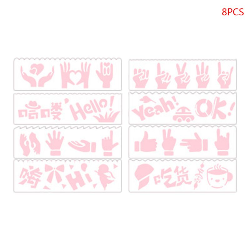 8pcs Kids Plastic Drawing Template Rulers Stencils DIY Painting Mold Hollow School Supply Tools Craft Children Gifts