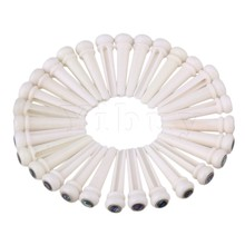 Yibuy 30 x Acoustic Guitar White Bone Abalone Dot Brass Circle Bridge End Pins