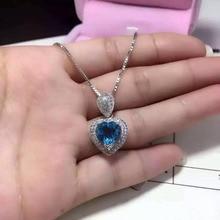 Естественный голубой топаз кулон S925 серебро Природных драгоценных камней Ожерелье модный сердце Элегантный романтический девушки женщин партии ювелирных изделий