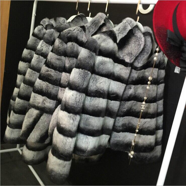 Russe Mode Femmes Réel Manteau De Fourrure D'hiver Chaud Stand Col Naturel Chinchilla Rex De Fourrure De Lapin Manteau DA-77