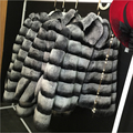 Russian Fashion Women Real Fur Coat Winter Warm Stand Collar Natural Chinchilla Rex Rabbit Fur Coat DA-77