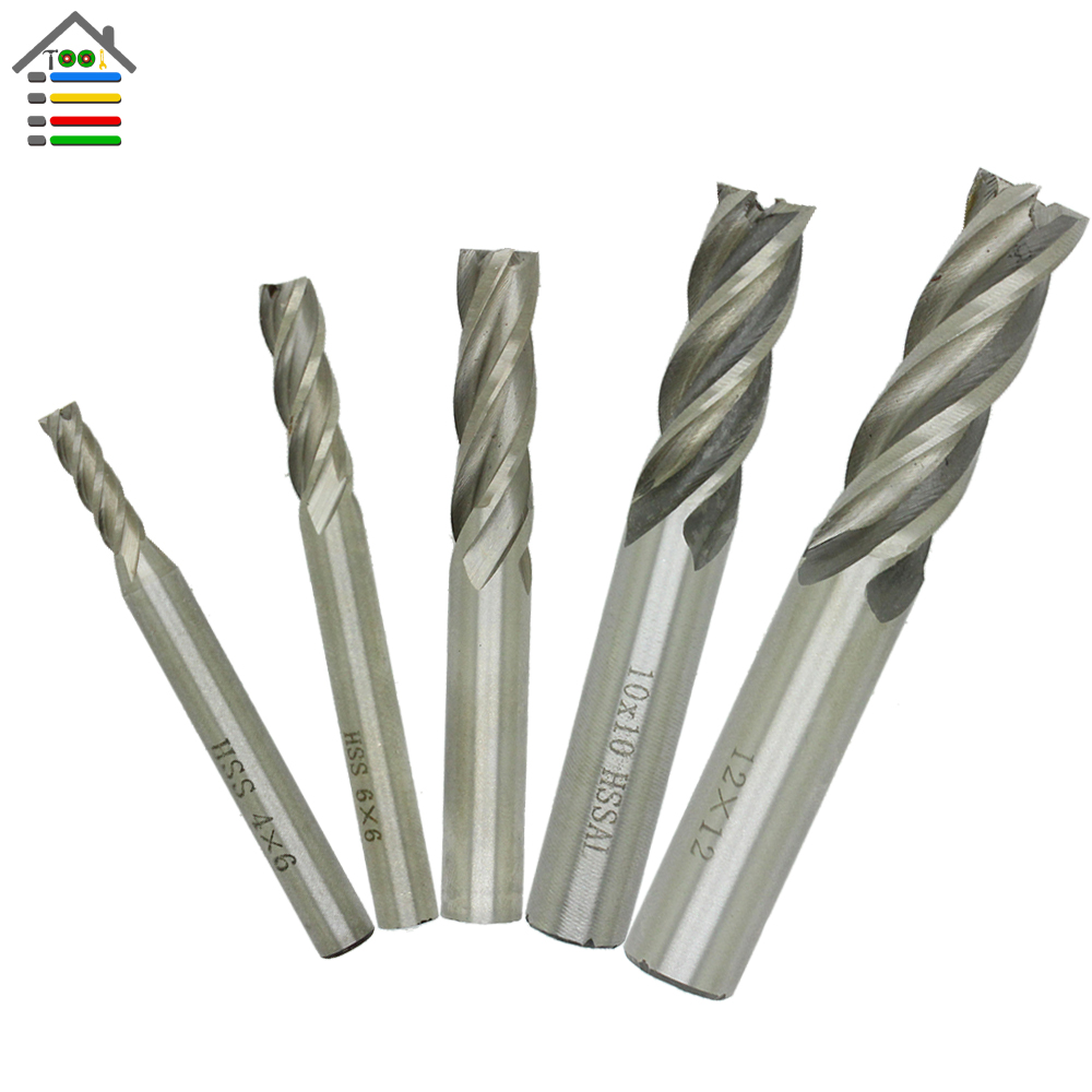 AUTOTOOLHOME 5pcs/set 4 Flutes End Mill HSS CNC Straight Shank Milling Cutter Drill Bits 4 6 8 10 12mm Tools Free Shipping 3 4 x 1 4 cutter tool 12mm straight shank 8 flutes hss t slot end mill milling