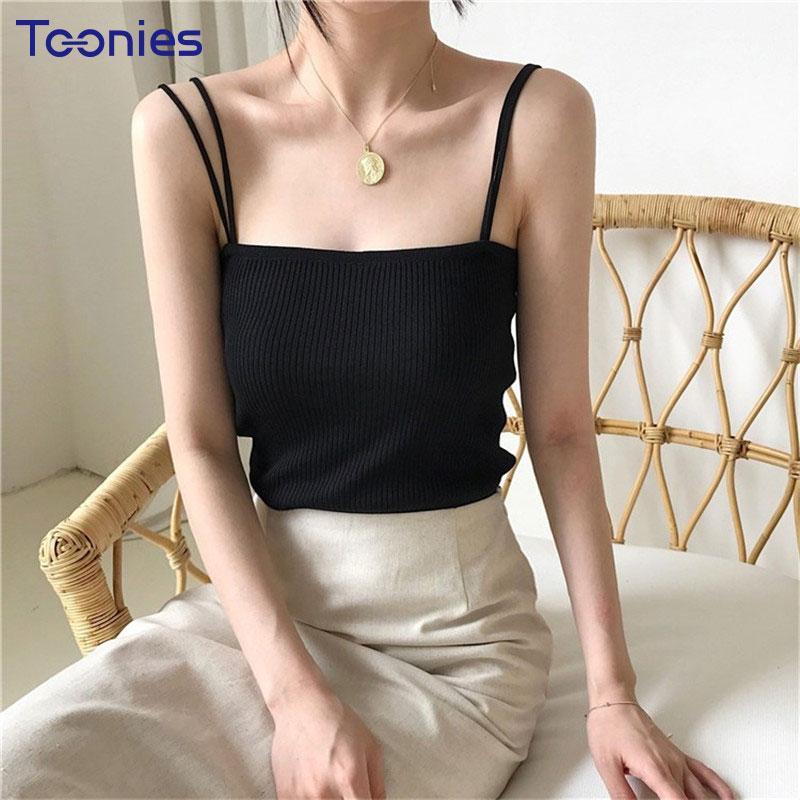 New Fashion Korean Simple Tank Tops Women Casual Summer Solid Color Sexy Slim Camisole Vest Female Street Wear Knitted Camis