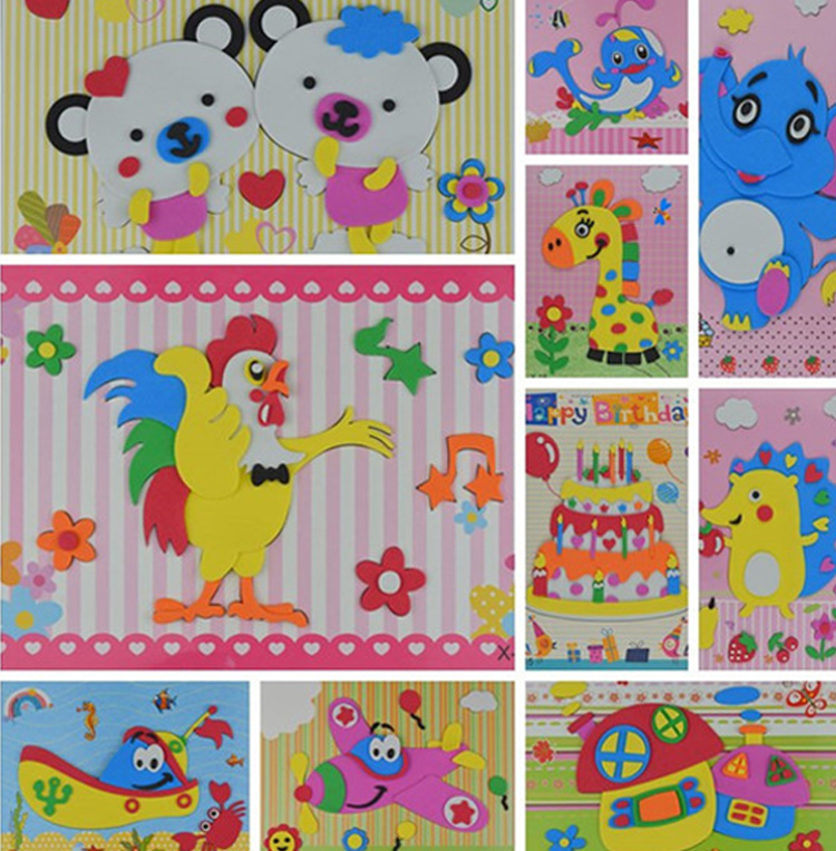5 Sheets/set EVA 3D Pasting Paper Children Handmade Materials Kids DIY Craft Toys Kindergarten Baby Puzzle Stereo Sticker