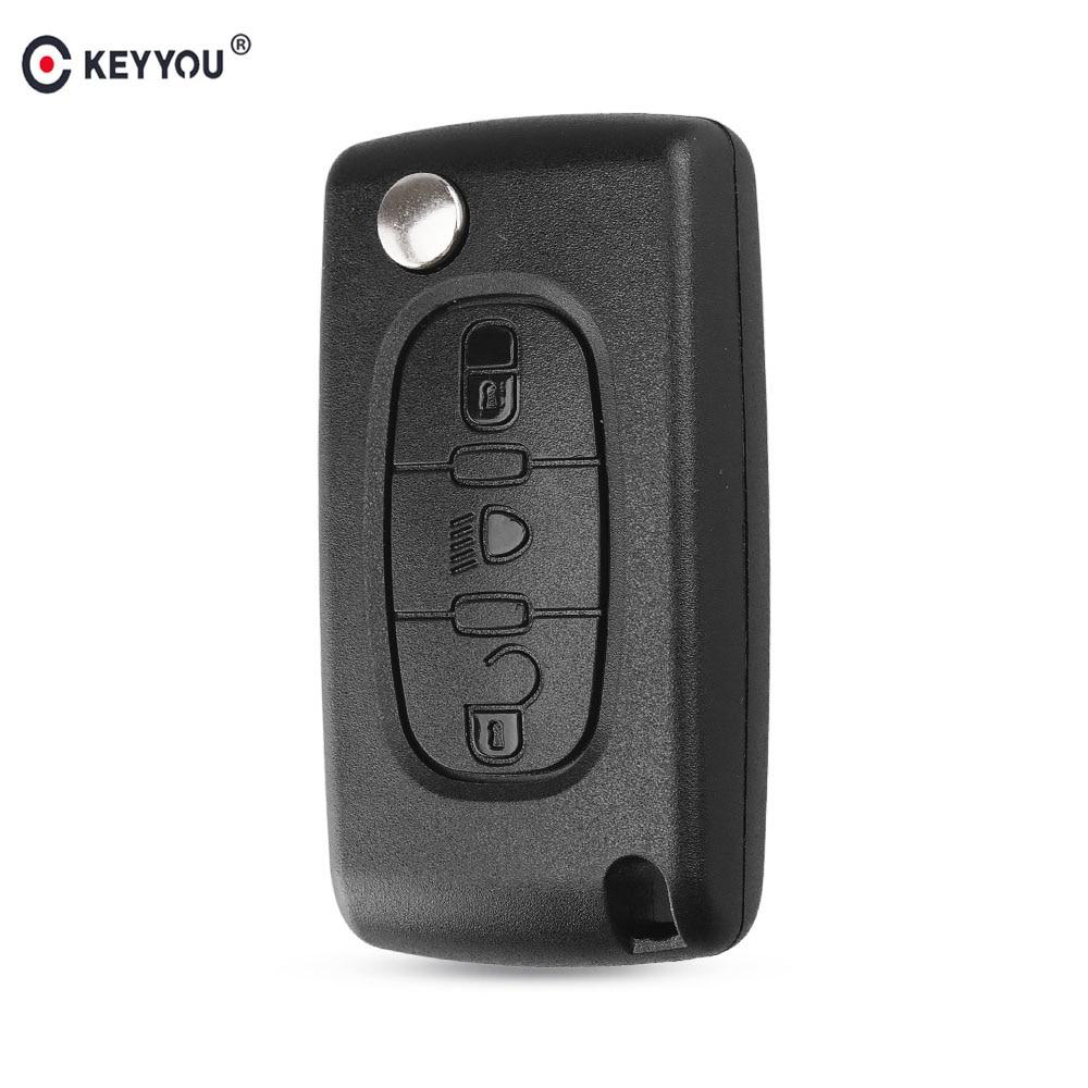 Keyyou capa para chave remota automotiva, para citroen c2 c3 c4 c5 c6 c8 xsara, 3 botões, dobrável, com chave cobertura de concha va2/hu83 lâmina