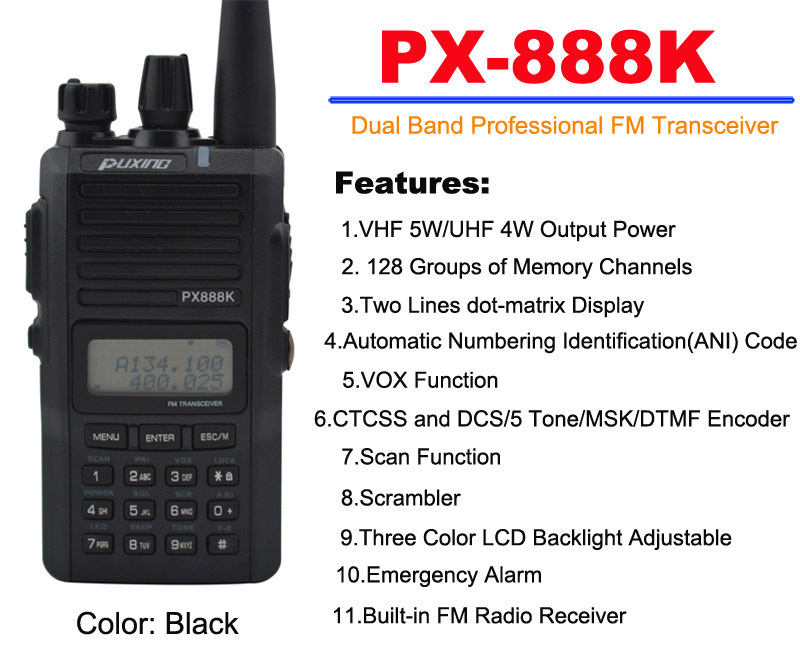 Black Color PUXING PX-888K Dual Band Professional FM Transceiver Original PUXING PX 888K 5w 128CH Walkie Talkie