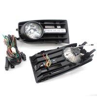 2 piezas luces de niebla parrilla lámparas H3 para VW GOLF 5 MK5 conejo 2005-2009 y KIT de cableado del coche -estilo
