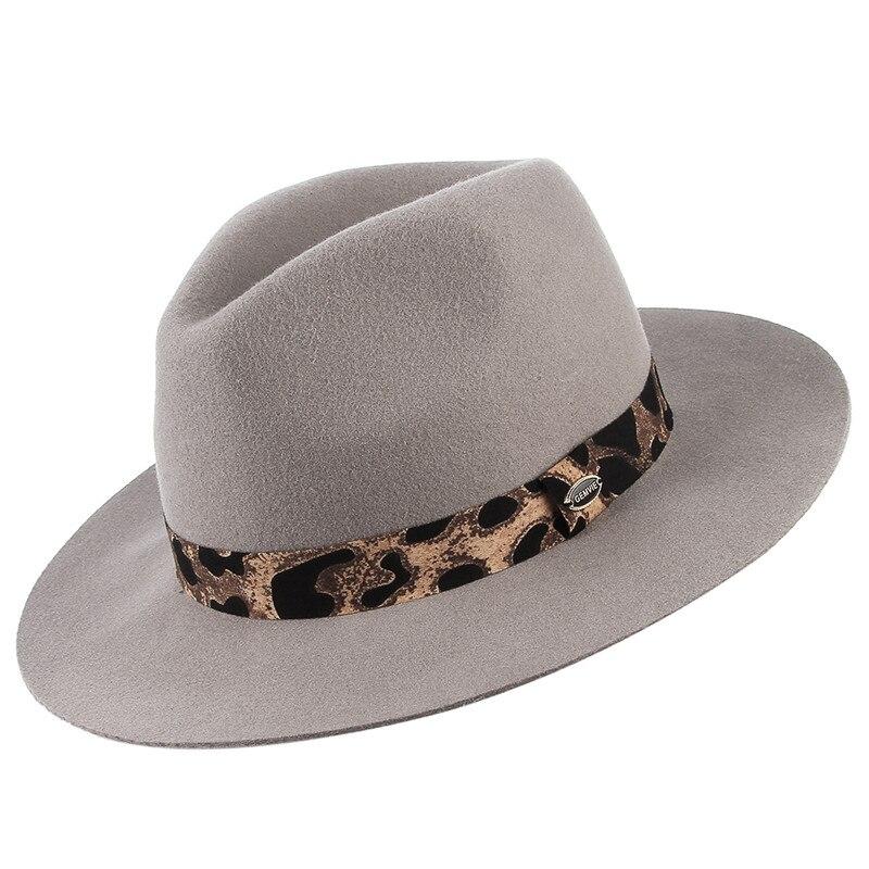 Laine Fedoras chapeaux femmes Jazz casquette GEMVIE classique couleur unie large bord Jazz chapeau léopard ruban Panama chapeau