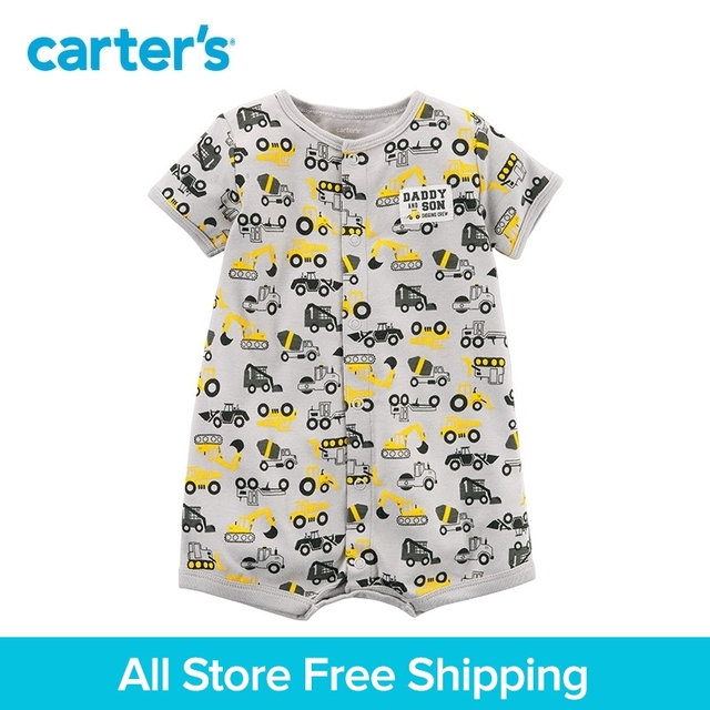 c382fca97923 1pcs sweet Construction print Snap-Up Cotton Romper Carter s baby Boy  Summer jumpsuits clothing 118I245