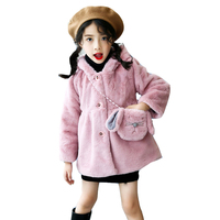 Infants Jackets Bags 2Pcs Toddlers Fluffy Coats For Girls Clothing Warm Winter Outerwear Brand Baby Tops