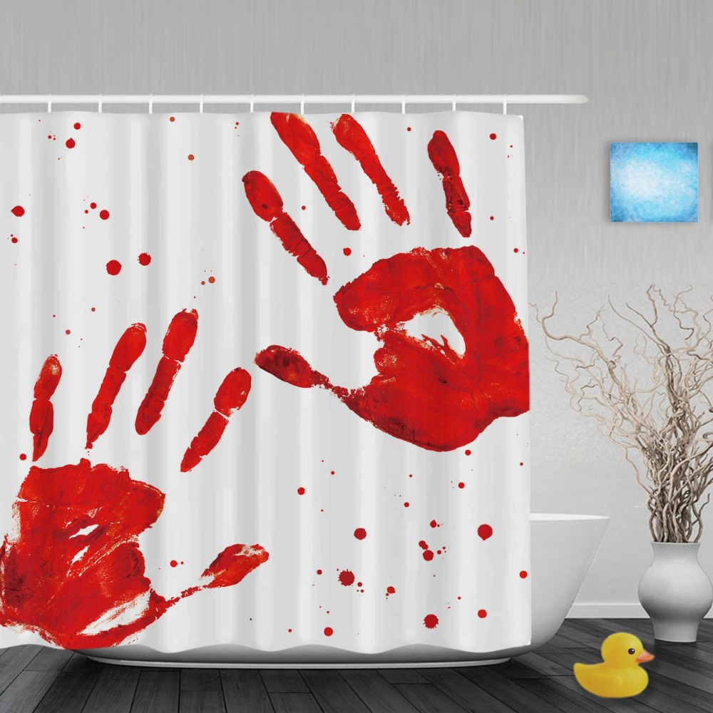 Halloween shower curtain hooks - Bloody Hand Palm Imprints Bathroom Shower Curtains Halloween Home Decor Shower Curtain Waterproof Polyester Fabric With