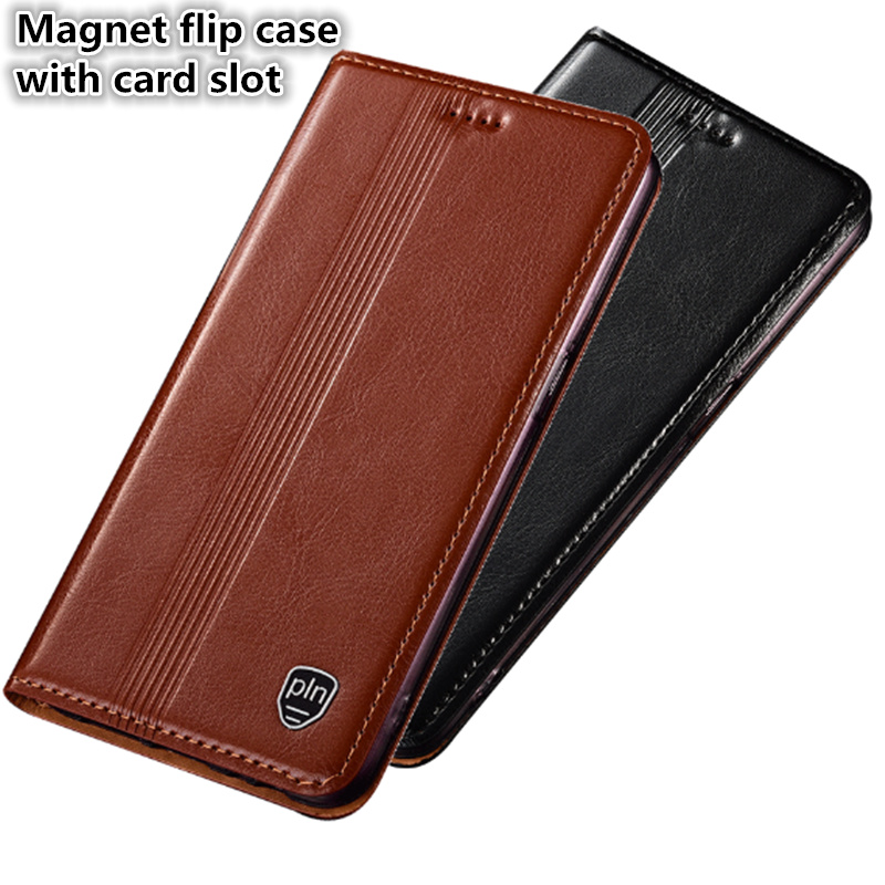 HY05 Genuine leather magnetic flip case with card slot for Oneplus 6(6.28') phone case for Oneplus 6 phone bag free shipping