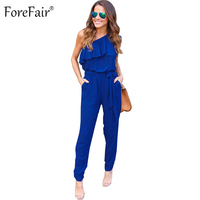 ForeFair Sexy One Shoulder Ruffles Overalls Chiffon Jumpsuit Women Elegant Plus Size Long Pants Lace Up