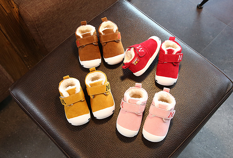New Baby winter First walkers fur Baby moccasins Pu suede leather Girls Boys Crib Anti-slip Keep warm shoes 1-3 Years