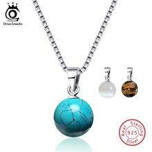 66f45daf7ba2 ORSA JEWELS auténtica Plata de Ley 925 collares y colgantes de piedra  Natural turquesas colgante collar de mujer joyería de fies.