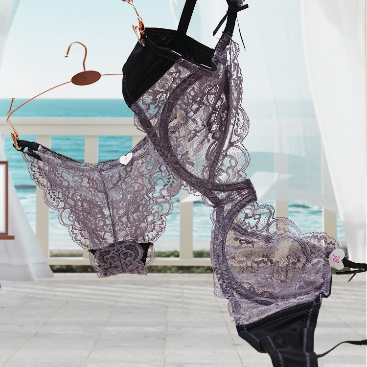 a5245a754df 2017 Plus size Push up Ultra thin Lace Hollow Adjustable Bra Brief Sets A B  C D Cup Bra Panties sets Free Shipping-in Bra   Brief Sets from Women s  Clothing ...