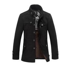2018 High Quality Men Woolen Jacket Coats Thick Black Camel Homme Overcoat Fashion Autumn Winter Warm