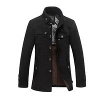 2018 High Quality Men Woolen Jacket Coats Thick Black Camel Homme Overcoat Fashion Autumn Winter Warm England Slim Pea Coat