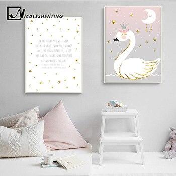 Póster de flores y estrellas de cisne e impresión de bebé vivero cuadro sobre lienzo para pared dibujo nórdico cuadro decorativo para dormitorio infantil