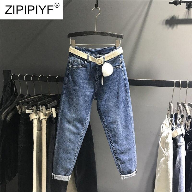 Para Colocar Dama Pantalones Elástico Cintura De Azul K442 Mujer Jeans Boyfriend Casual Alta Denim Calidad Harem Vestido Mujeres 5COUAwq