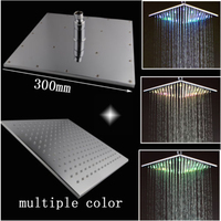 HM LED Shower Head 12 Inch Square 7 Colors Automatic Changing Chrome Finished For Bathroom