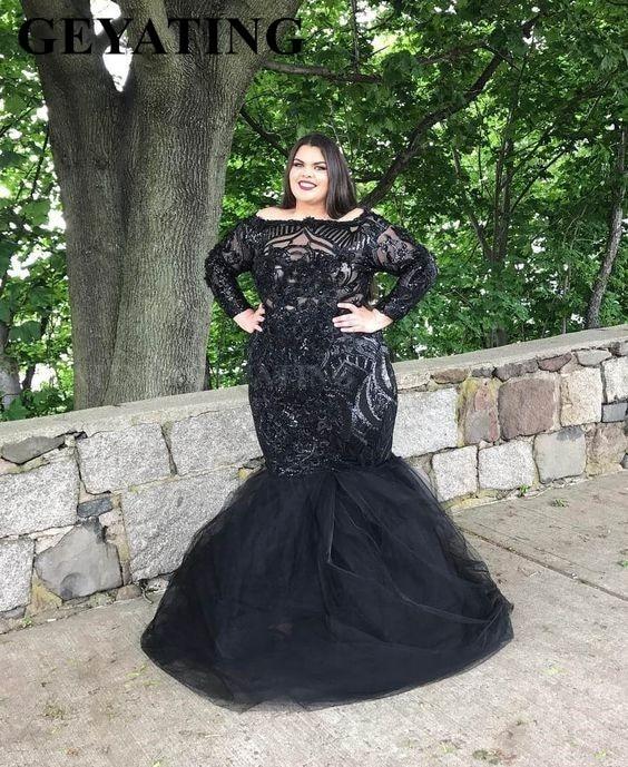 Elegant Black Sequin Long Sleeves Mermaid Plus Size Prom Dresses 2020 Boat Neck Women Formal Evening Gowns Graduation Dress Long