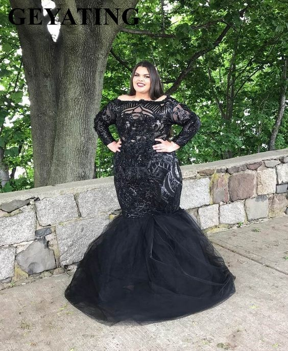 Elegant Black Sequin Long Sleeves Mermaid Plus Size   Prom     Dresses   2019 Boat Neck Women Formal Evening Gowns Graduation   Dress   Long