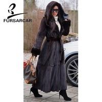 FURSARCAR Whole Skin Real Mink Fur Coat Women With Big Fur Hood Fashion Warm Jacket England Style Female Long Mink Fur Coat