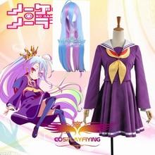 Free Shipping No Game No Life Cosplay Shiro Cosplay Costume inner Square Collar Skirt Girl Dress Dress Hair Wig Purple Stockings цена
