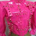 2015 новый женский розовый куртки пальто черный Мода sexy кожа one piece dj певица ds костюм производительности шоу Рождество бар