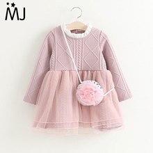 2-six années tricoté Robe d'hiver Nouveau Enfants Tutu Robes Fille Automne Hiver À Manches Longues Princesse Robes Rose Toddler Vêtements