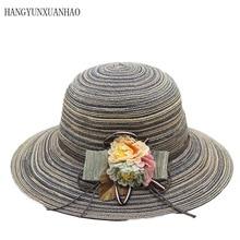Foldable Sun Caps Ribbon Round Flat Top Flower Straw Hat Beach Panama Summer Hats For Women Gorras