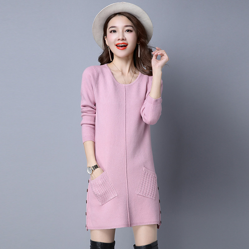 Autumn Winter Sweater Dress  Long Sleeve  Plus  Size  Loose  Midi Dress Elegant Sexy  Knitted  Dress bl245 plain loose long sleeve plus size dress