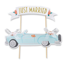Wedding Cake Topper JUST MARRIED Cupcakes flags Unique 1set Flags Bride Groom Party Decor New Car Toppers