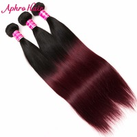 Aphro Hair Ombre Brazilian Hair Straight Hair Bundles Color 1B 99J Two Tone Non Remy Human