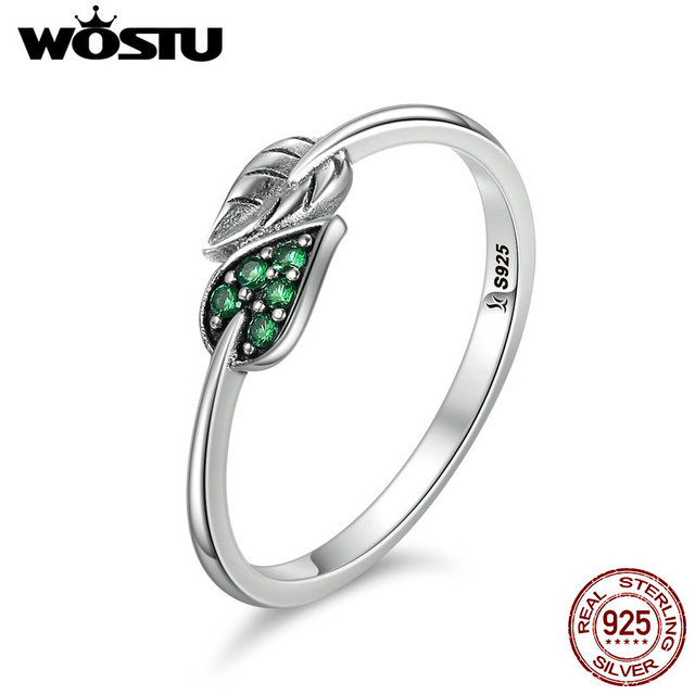 WOSTU High Quality Authentic 100% 925 Sterling Silver Dancing Leaves Rings Luxur