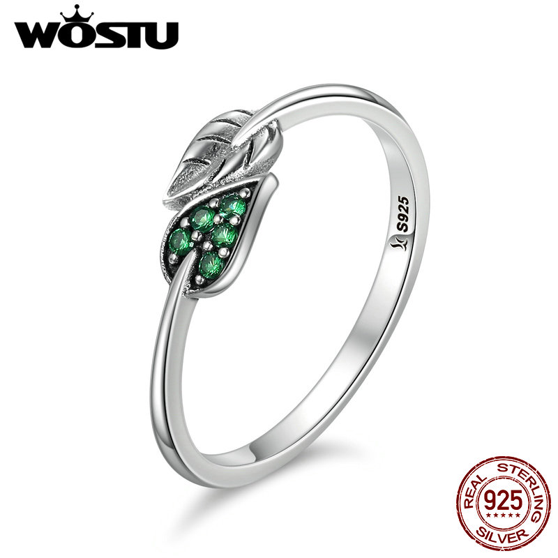 WOSTU High Quality Authentic 100% 925 Sterling Silver Dancing Leaves Rings Luxury Ring Fashion Jewelry Gift CQR093