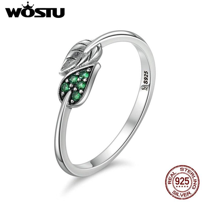 Wostu alta calidad auténtico 100% 925 plata esterlina baile deja Anillos lujo anillo moda joyería regalo cqr093
