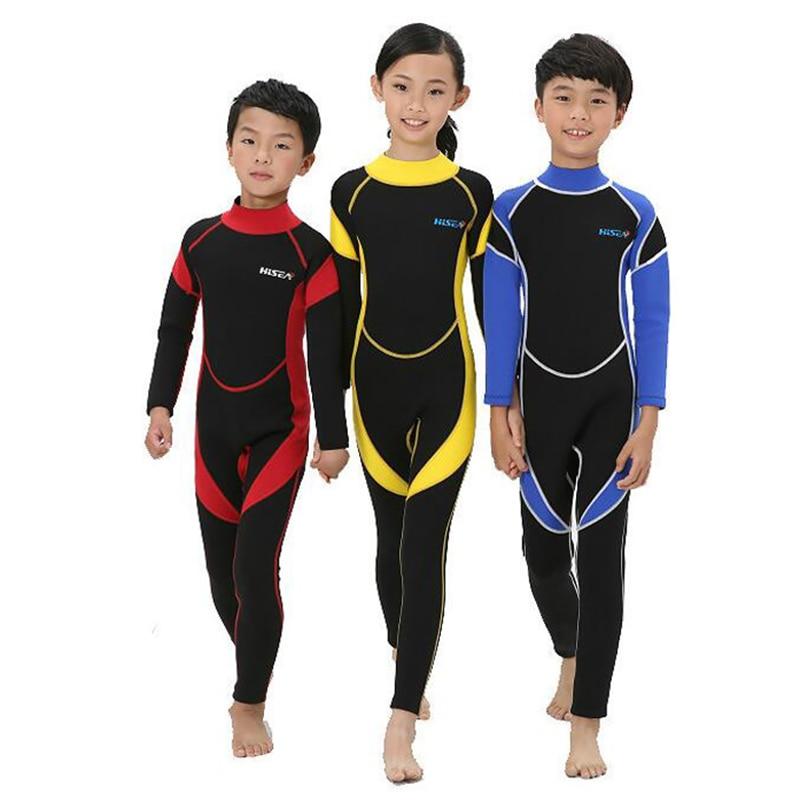 Új 2.5MM hosszú ujjú neoprén nedvesruhák fiúk lányok szörfözés gyerekek kiütések őrök snorkel gyerekek egyrészes fürdőruha búvárruha