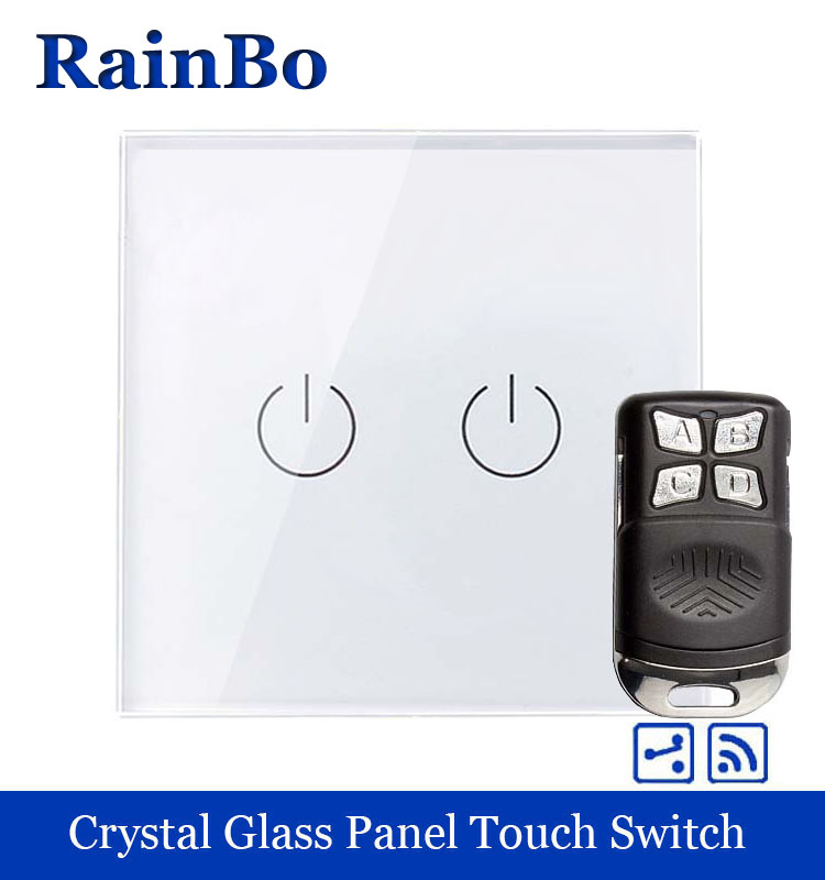 rainbo Remote Touch Switch Screen Crystal Glass Panel wall switch EU 110~250V Wall Light Switch 2gang2way A1924W/BR01 crystal glass panel smart wireless switch eu wall switch 110 250v remote touch switch screen wall light switch 1gang 1way black