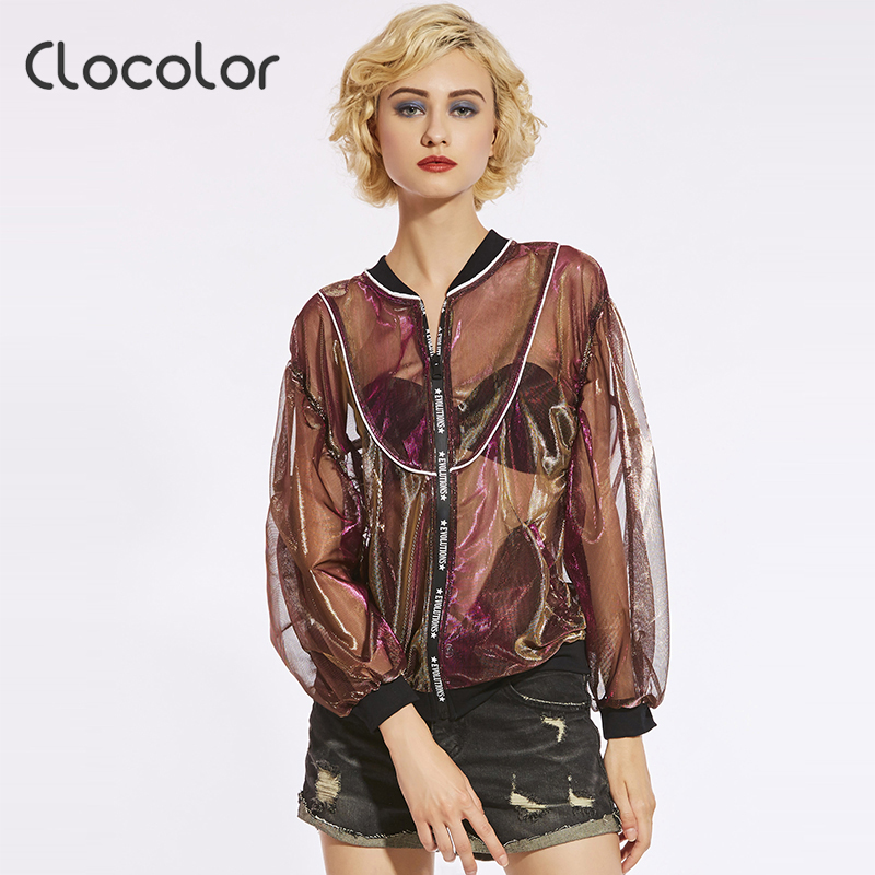 Clocolor Women Jacket Red Green Blue Thin See Through Print Letter Color Block Zipper 2018 Autumn Casual Loose Women Jacket