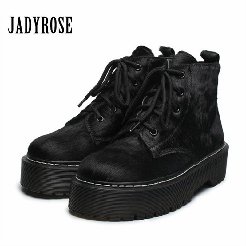Jady RosePunk Style Horsehair Women Ankle Boots Lace Up Autumn High Boots Female Platform Creepers Botas
