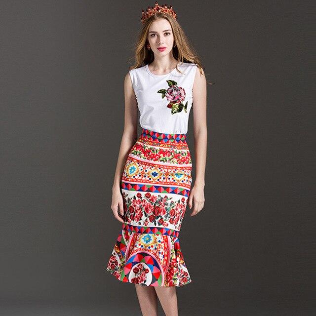fashion Women Set 2017 Summer Rose Sequined Sleeveless White T-Shirt tops+ Fashion Rose Print Sexy Trumpet Cute Slim skirt sets